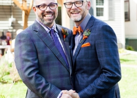 Eclectic Boutonnieres filled with unique texture in purple, orange & greens the perfect accent for this Minneapolis Minnesota Home wedding.