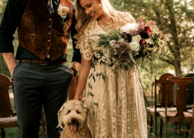 Bride Floral Bouquet with a Dog