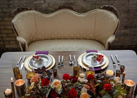 Sweet Heart table for bridal couple in a Metal/Warehouse venue setting
