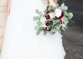 Handtied Romantic Bouquet in blush, ivory, marsala & eucalyptus greenery
