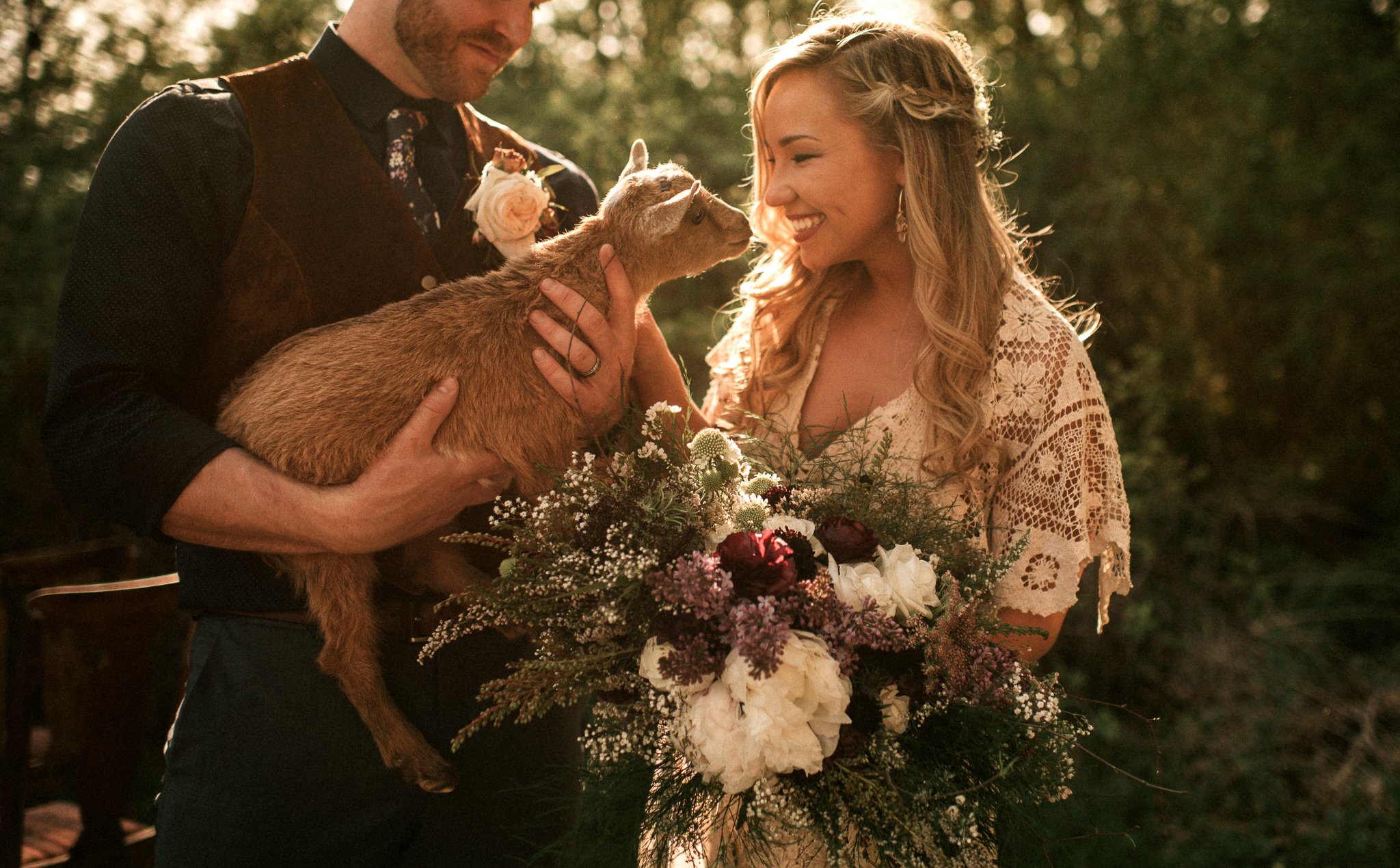 Bride Floral Bouquet with a Goat