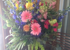 Bright colored vase arrangement Minneapolis funeral