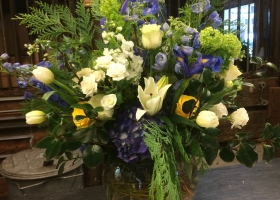 Summer large funeral vase arrangement
