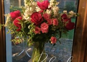 Pink feminine floral arrangement Gearty Delmore Minnesota
