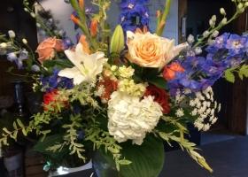 Pastel funeral garden vase arrangement Wayzata Minnesota