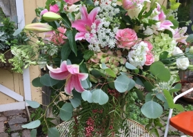 Pastel Pink Family flower vase arrangement funeral Minnesota
