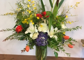 Summer modern funeral vase arrangement