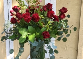 Red rose memorial vase arrangement Wayzata