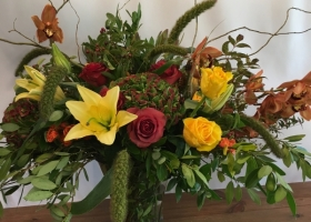 Autumn funeral flowers by Bonnie Keller