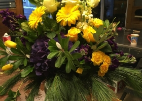 Yellow and Purple funeral Vase Arrangement