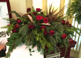 Casket spray by Minneapolis funeral florist Bloomberry Floral