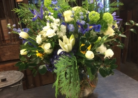 White & blue larger funeral vase arrangement