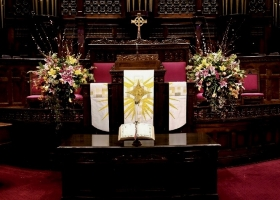 Large Alter Arrangements funeral at Westminister Minneapolis
