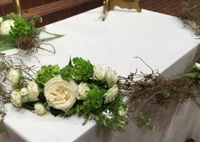 Rustic natural garland funeral Wayzata Community Church