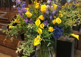 Yellow and blue larger funeral arrangements Bonnie Keller