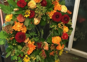 Funeral wreath spray by Bonita Keller