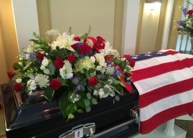 Patriotic Casket Spray by Bonnie Keller Long Lake