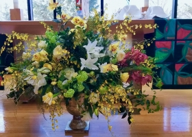 Family Alter flower arrangement Trinity Lutheran Church Long Lake