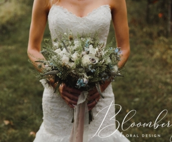 Romantic, Rustic Bridal Bouquet filled with prairie flowers with tons of texture through out. Perfect for this Minnetonka Orchard Outdoor Minnesota Wedding.