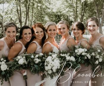 Loose Greenery & White Garden Rose Wedding Bouquets