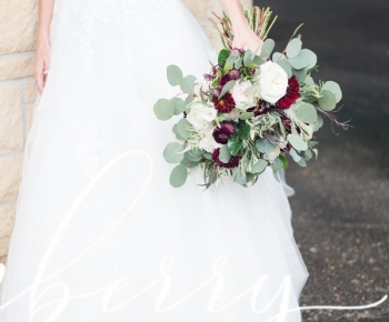 Handtied Romantic Bouquet in blush, ivory, marsala & eucalyptus greenery