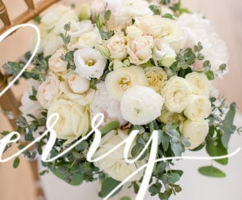 Closeup Ivory, White & Blush Bridal Bouquet by Bloomberry Floral