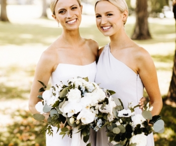 White & Pale Blue Bridal and Bridesmaids Bouquet