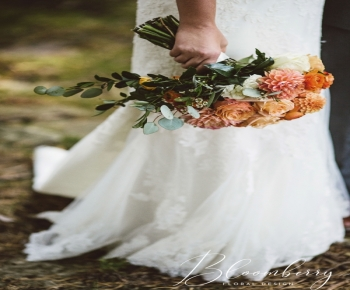 Coral and Orange Dahlie Bridal Bouquet - Excelsior Minnesota