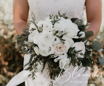Blush and White Ranunculus and Garden Rose Bridal Bouquet
