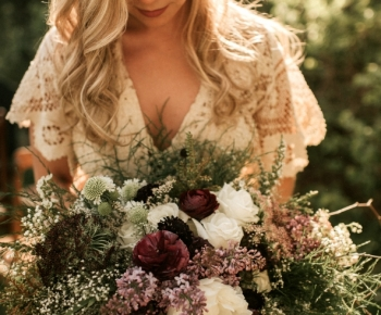 Rustic Bohemian Bridal Bouquet White and Purple Flowers