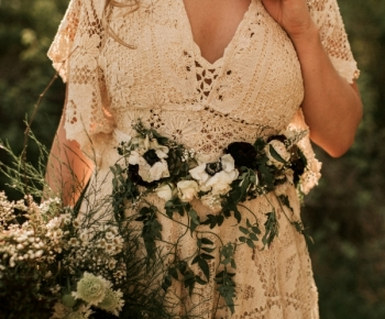 Bride wearing floral belt - Rustic Wedding Lakeside