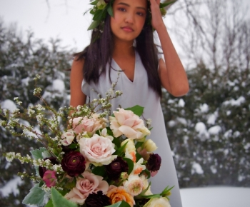 Winter Bridal Bouquet Merlot, Blush and Succulants by Bloomberry Floral