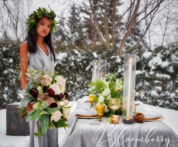 Minnesota Blizzard Wedding Floral Bouquet and Centerpiece