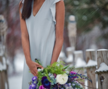 Garden Bridal Bouquet in Winter Setting