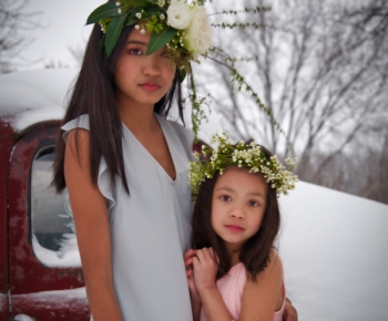 Flower Hairpiece by Bloomberry Floral on 2 girls Minnesota Winter