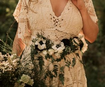 Bride wearing floral belt - Rustic Wedding Lakeside