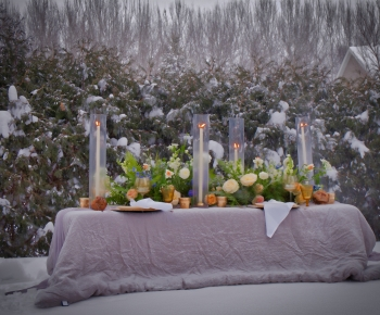 Romantic Candle and Floral Table Centerpiece