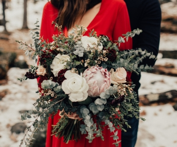 Brides Floral Bouquet with White Blush and Merlot Flowers