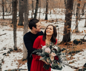 Winter Couple Floral Photoshoots Woods in Minnesota