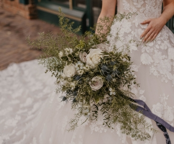 Annikal Bridal Designer Gown with Organic Loose Bouquet