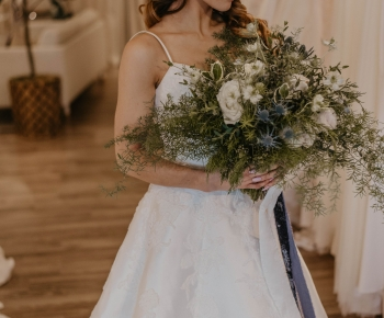 Loose Greenery, White and Blue Bridal bouquet by Bloomberry Floral