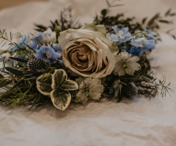 Floral Hair Piece in White Blue and Blush