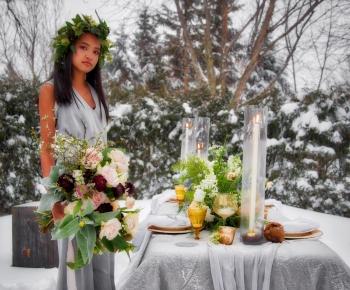 Minnesota Blizzard Wedding Floral Bouquet and Centerpiece