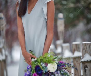 Garden Bridal Bouquet in Winter Setting