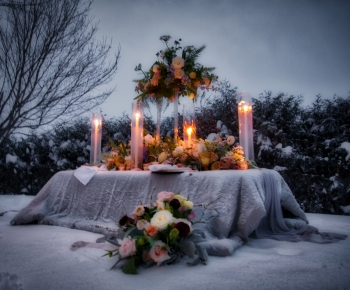 Romantic Floral and Candle Centerpiece by Bloomberry Floral