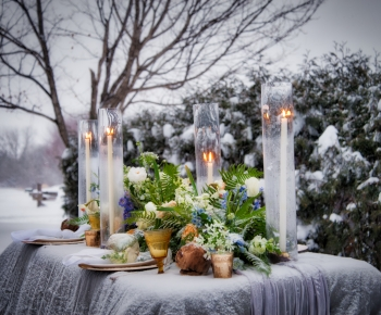 Minnesota Winter Flower and Candle Centerpiece