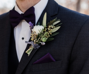 Purple and White Groomsmen Boutonniere