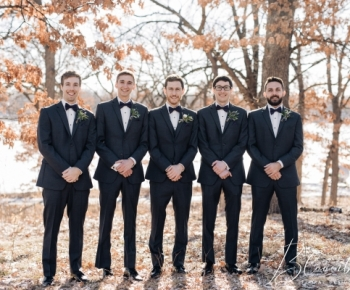 Groom and Groomsman Hennepin County Park Wedding Winter