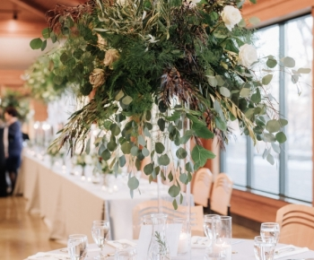 Large Eucalyptus and Greenery Tall Wedding Centerpiece