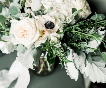 Winter Bridal Bouquet Ivory and Navy